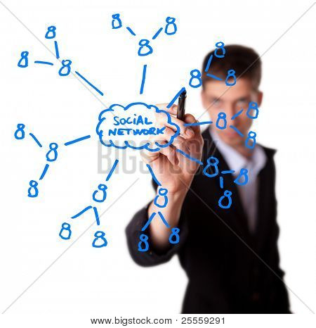 Businessman drawing social network plan on whiteboard