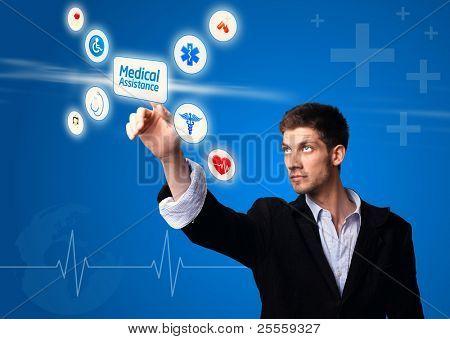 doctor pressing digital button ( medical assitance )