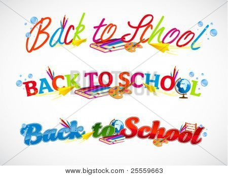 Colorful back to school typography headers