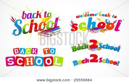 Colorful back to school typography headers 3