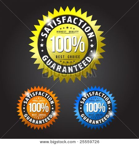 Satisfaction guarantee gold, orange and blue patches