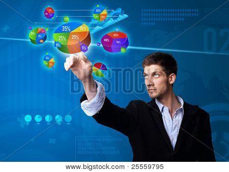 Empresario gráfico tecla, tecnología futurista