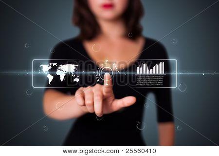 Empresaria pulsando alta tecnología tipo de botones modernos sobre un fondo virtual