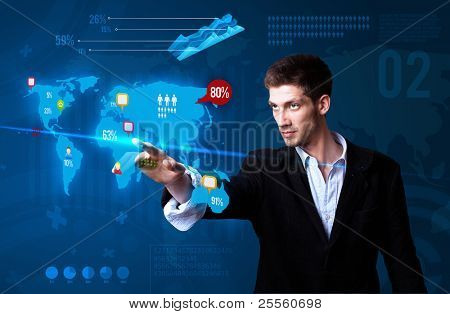 Businessman pressing social media button on the map, futuristic technology