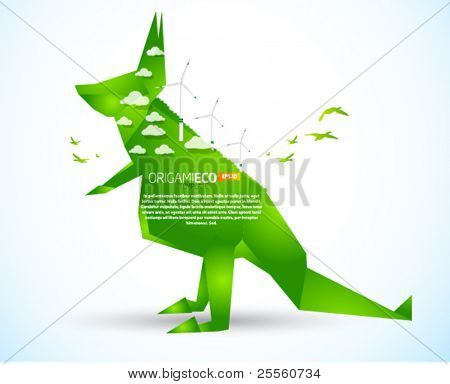 Eco friendly green origami kangaroo template