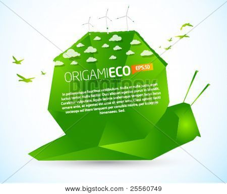 Eco friendly green origami snail template