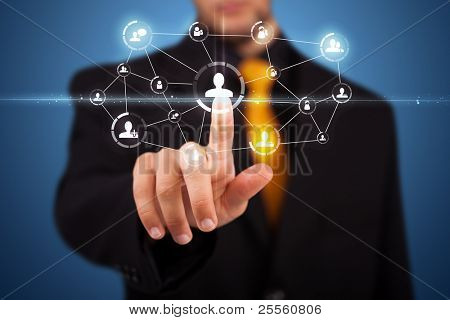 moderne soziale Tasten auf einem virtuellen Hintergrund Kaufmann