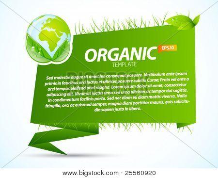 grüne Eco Origami Vorlage mit bereiten Sie Zeichen