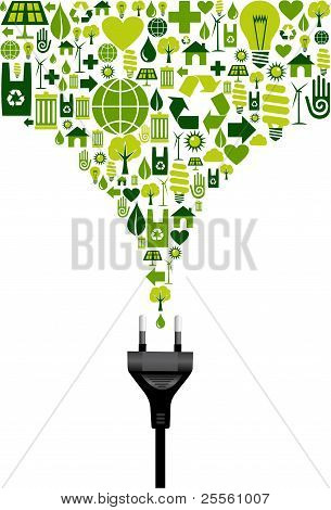 Environmental Icons Set Splash And Electric Plug