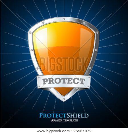 orangene Scheibe auf blauem Hintergrund schützen