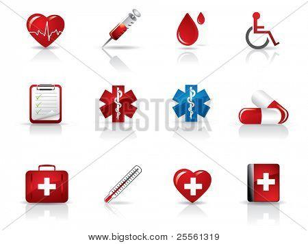 Conjunto de iconos de médicos y hospitalarios