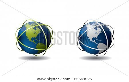 Earth globe with ring vector