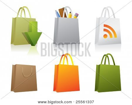 Six paper shopping bag icons