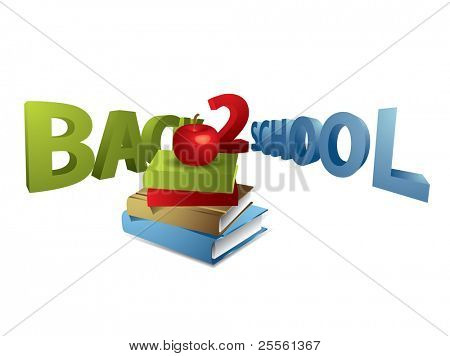 Back to school text with apple and books