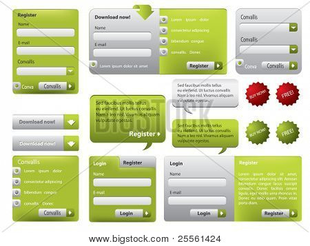 Green website form set with buttons