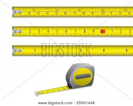 Tape measure in inches and centimeters. Vector.