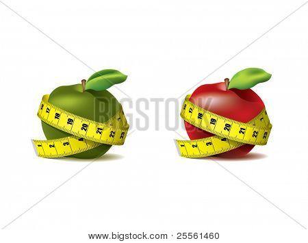 Maçã fresca de vermelho e verde com fita métrica isolada em branco - vector