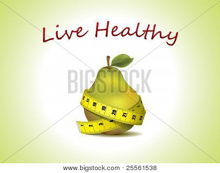 Live Healthy - fresh pear with measuring tape