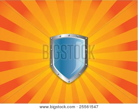Medieval Shield on orange background
