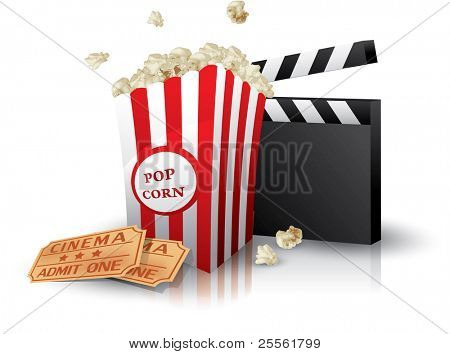 Popcorn and movie tickets with clapper board on white