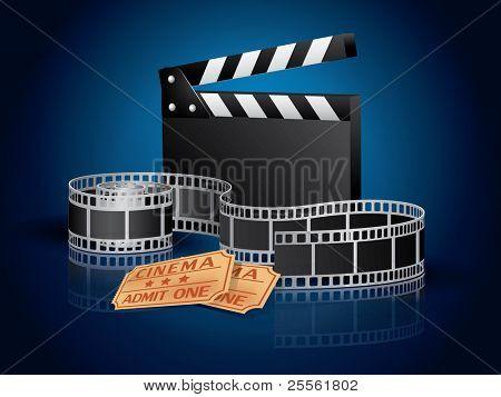verdrehte Moviefilm, Tickets und Klöppel Motherboard blauen Hintergrund