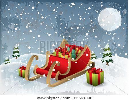 Christmas illustration santa sleigh vector