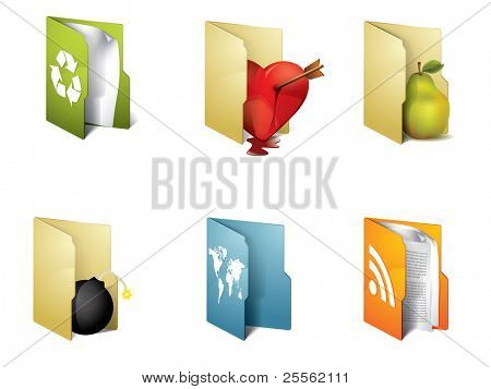 Colorful folders with different objects
