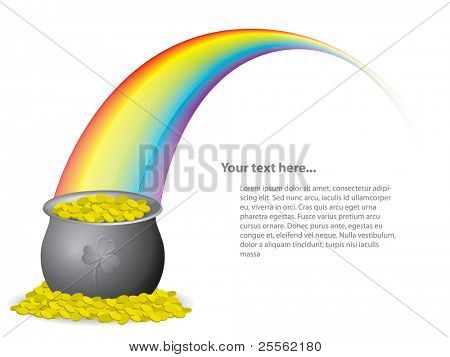 Pot of gold coins at the end of the rainbow - vector