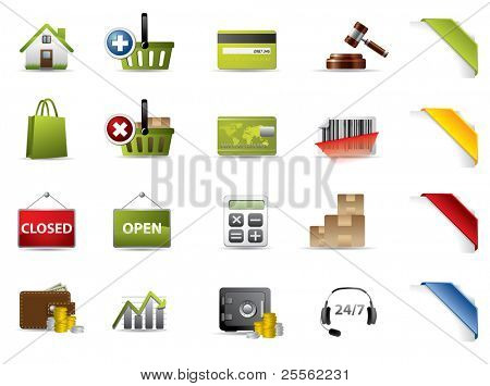 Shopping and auctions icons