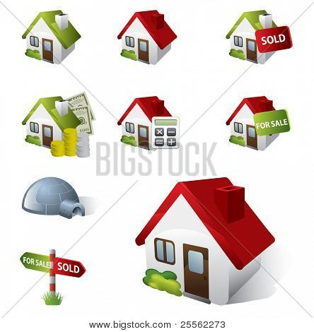 Conjunto de iconos 3D Real Estate Business
