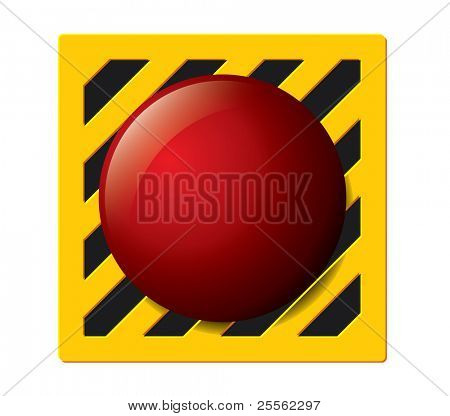 Launch button in red on a yellow and black panel