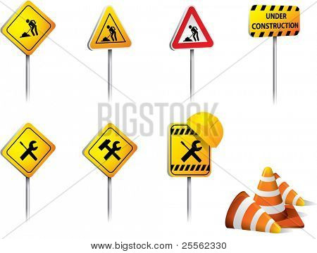 Set of Under construction signs vector