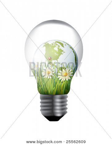bombilla con mundo verde interior