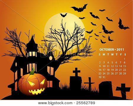 October calendar - Halloween with haunted house, bats and pumpkin