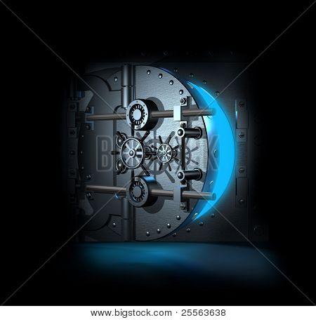 offene Bankwölbung, blaue Licht innerlich, 3D render