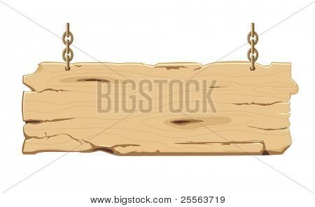 old blank wooden signpost on the chain, vector illustration