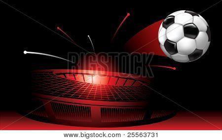 flying from the stadium soccer ball
