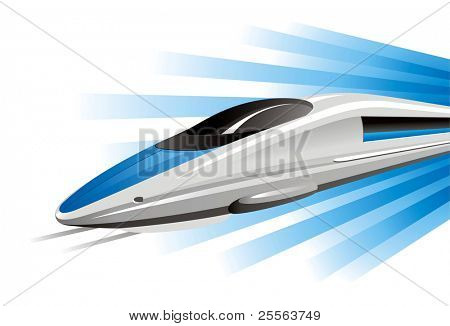 High-Speed-Zug auf Hovercraft. Vektor-Illustration.