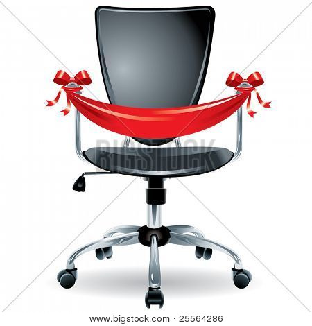 """comfortable office chair tied with silk ribbon, the concept of """"vacancies"""". Vector."""