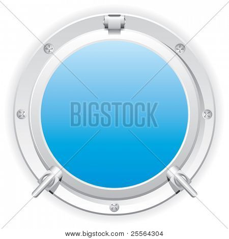 Closed steel porthole. Vector.