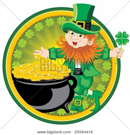 St. Patrick's Day, cheerful Leprechaun. Vector image.