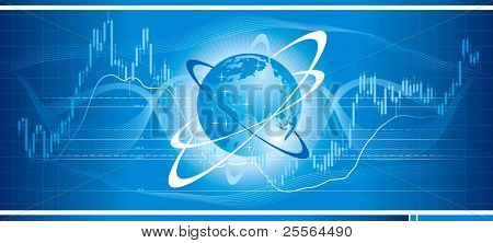 Stock chart on a globe. Concept of global trade. Vector illustration.