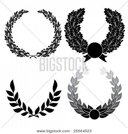 laurel and oak wreath. vector