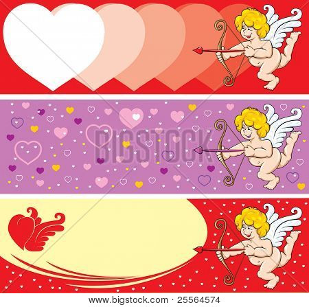 Set of Beautiful background on Valentine's Day, Cupid is ready to release an arrow. Vector.