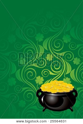 St. Patrick's Day, beautiful ornate background. Vector image.