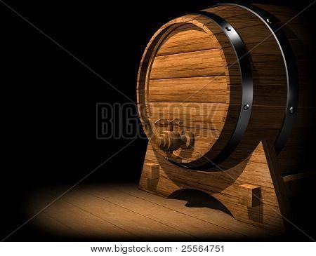 OLD OAK WINE OR BEER BARREL. 3D render