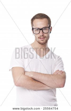 Good Looking Man With Retro Nerd Glasses