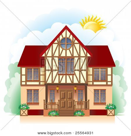 A beautiful Cottage, vector image. Detailed drawing.