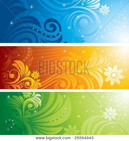 Conjunto de plano de fundo vector design floral