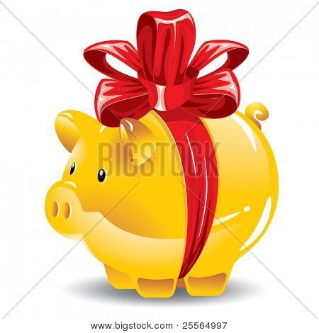 Concept: gold piggy bank as a gift, vector illustration